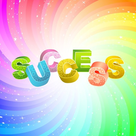 SUCCESS. Rainbow 3d illustration.