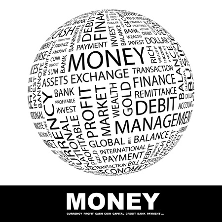 Illustration pour MONEY. Globe with different association terms. Wordcloud vector illustration.   - image libre de droit