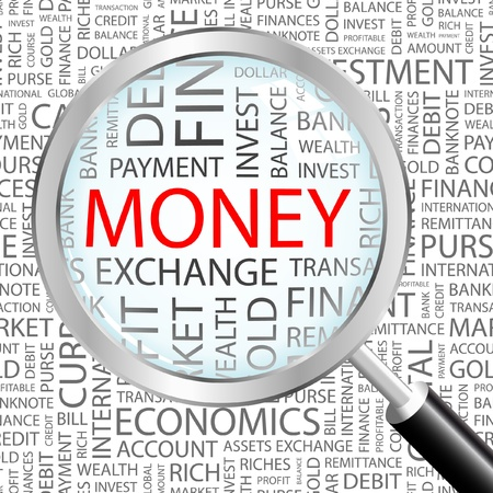 Illustration pour MONEY. Magnifying glass over background with different association terms. Vector illustration.   - image libre de droit