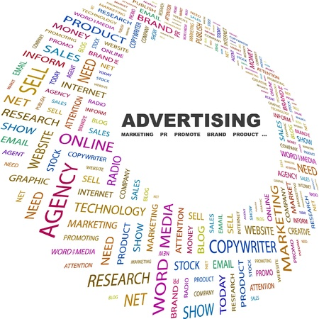 ADVERTISING. Word collage on white background. Vector illustration. Illustration with different association terms.