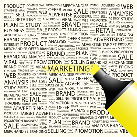 MARKETING. Highlighter over background with different association terms. Vector illustration.