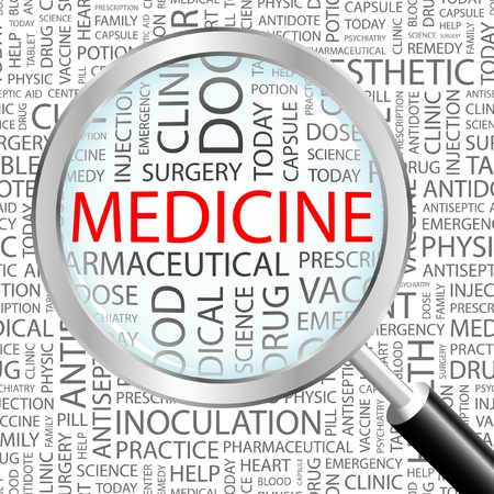 MEDICINE. Magnifying glass over background with different association terms. Vector illustration.