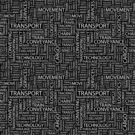 TRANSPORT. Seamless vector pattern with word cloud. Illustration with different association terms.