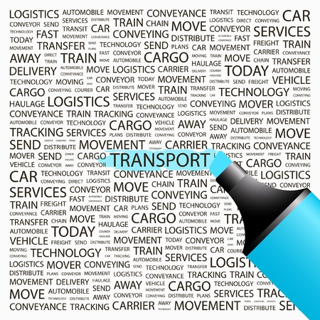TRANSPORT. Highlighter over background with different association terms. Vector illustration.