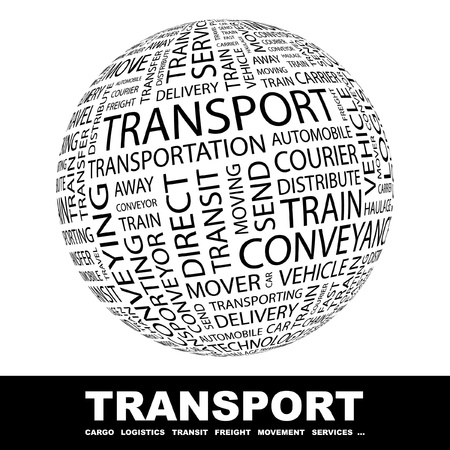 TRANSPORT. Globe with different association terms. Wordcloud vector illustration.