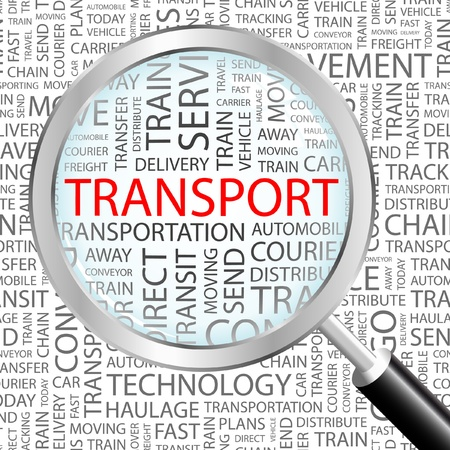 TRANSPORT. Magnifying glass over background with different association terms. Vector illustration.