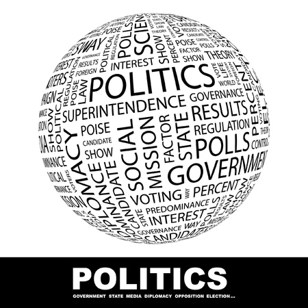 POLITICS. Globe with different association terms. Wordcloud vector illustration.