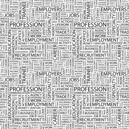 PROFESSION. Seamless vector background. Wordcloud illustration. Illustration with different association terms.