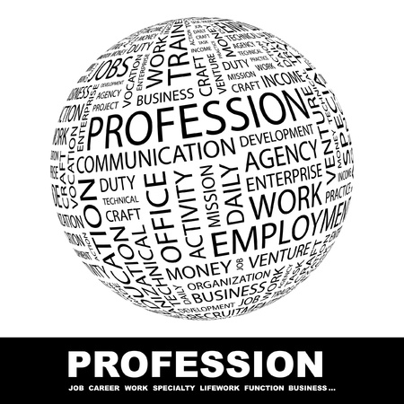 PROFESSION. Globe with different association terms. Wordcloud vector illustration.