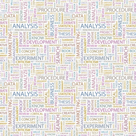 ANALYSIS  Seamless vector pattern with word cloud