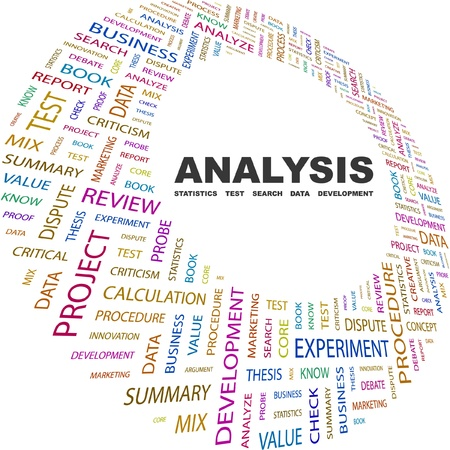 ANALYSIS. Word collage on white background. Vector illustration. Illustration with different association terms.