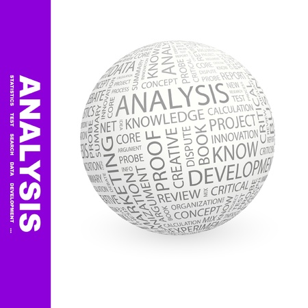 ANALYSIS. Globe with different association terms. Wordcloud vector illustration.