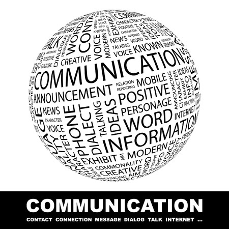 COMMUNICATION. Globe with different association terms. Wordcloud vector illustration.