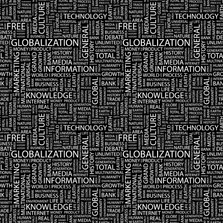 GLOBALIZATION. Seamless vector pattern with word cloud. Illustration with different association terms.