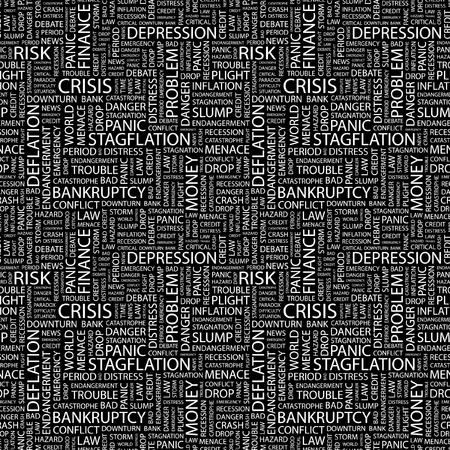 CRISIS  Seamless vector pattern with word cloud