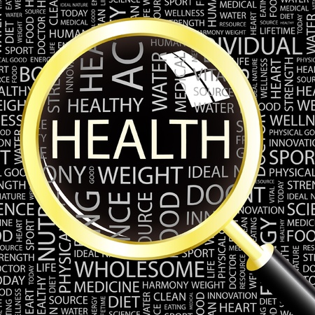 HEALTH. Magnifying glass over background with different association terms. Vector illustration.