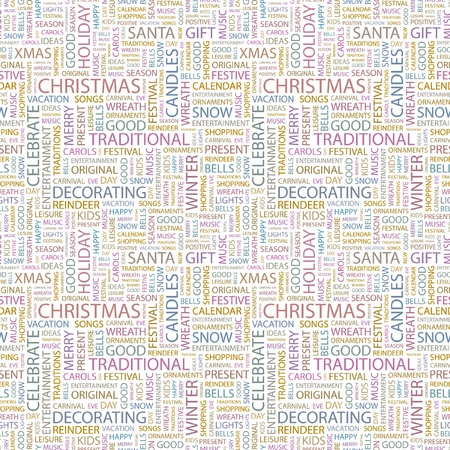 CHRISTMAS  Seamless vector pattern with word cloud