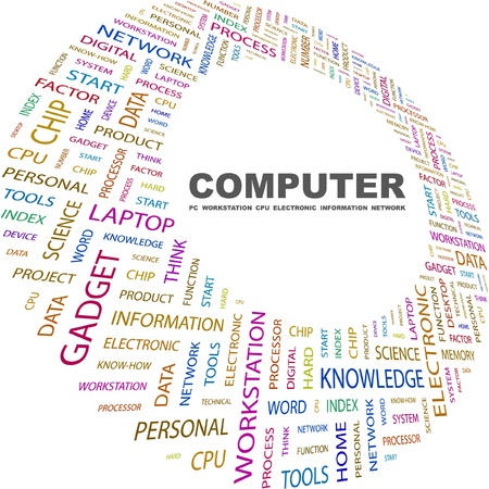 COMPUTER. Word collage on white background. Vector illustration. Illustration with different association terms.