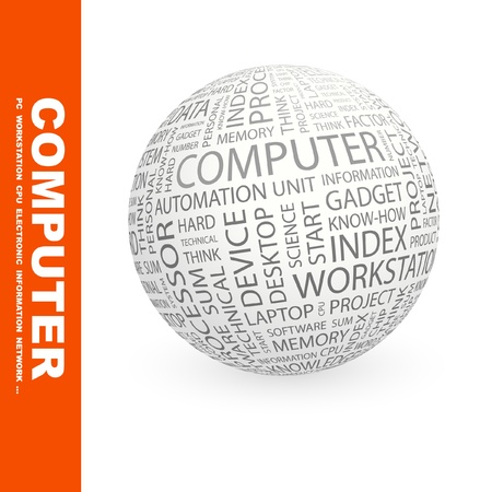 COMPUTER. Globe with different association terms. Wordcloud vector illustration.