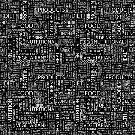 FOOD. Seamless vector pattern with word cloud. Illustration with different association terms.  のイラスト素材