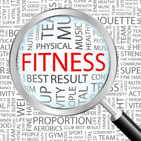 Photo for FITNESS. Magnifying glass over background with different association terms. Vector illustration.   - Royalty Free Image