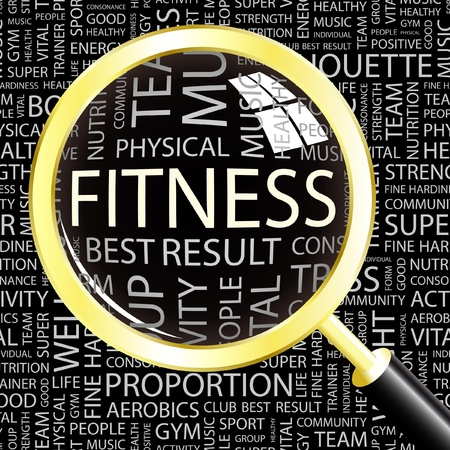 FITNESS. Magnifying glass over background with different association terms. Vector illustration.