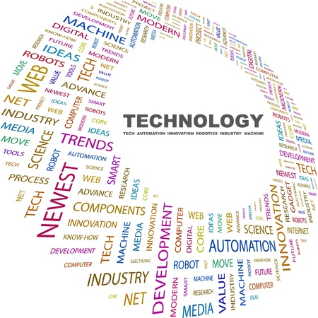 TECHNOLOGY. Word collage on white background. Vector illustration. Illustration with different association terms.