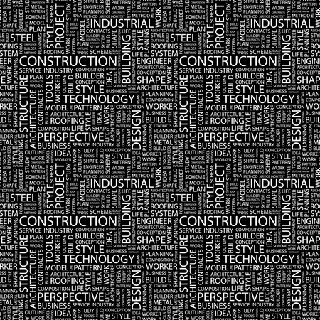 CONSTRUCTION. Seamless vector pattern with word cloud. Illustration with different association terms.
