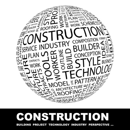 CONSTRUCTION. Globe with different association terms. Wordcloud vector illustration.