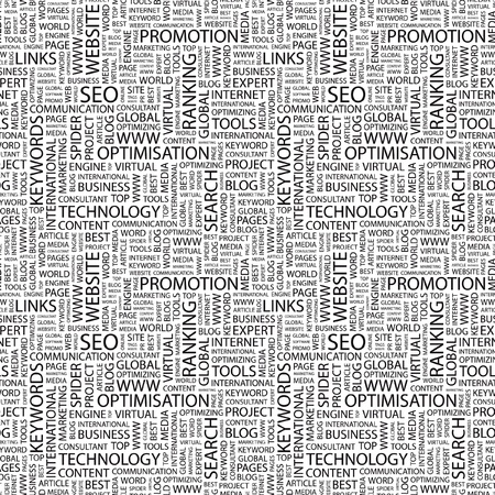 SEO. Seamless vector pattern with word cloud. Illustration with different association terms.