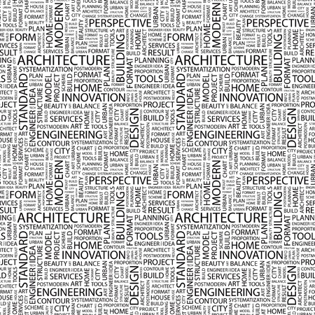 ARCHITECTURE. Seamless vector pattern with word cloud. Illustration with different association terms.