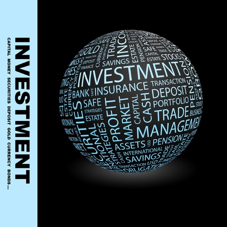 INVESTMENT. Globe with different association terms. Wordcloud vector illustration.