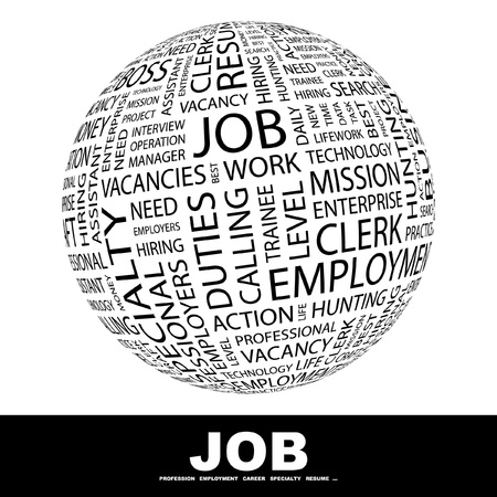 JOB. Globe with different association terms. Wordcloud vector illustration.
