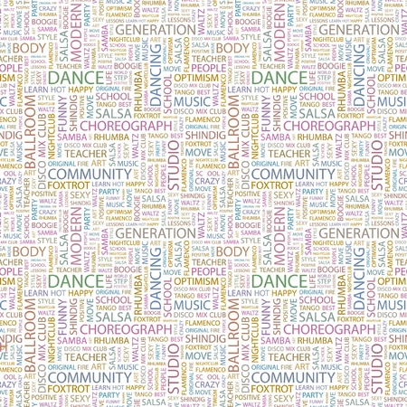 DANCE  Seamless vector pattern with word cloud  Illustration