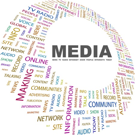 MEDIA. Word collage on white background. Vector illustration. Illustration with different association terms.