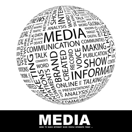 Photo for MEDIA. Globe with different association terms. Wordcloud vector illustration.   - Royalty Free Image