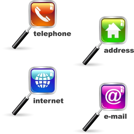 Home, phone, internet and email. Icon set