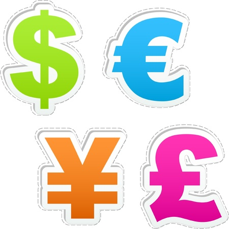 Vector dollar, euro, yen and pound.
