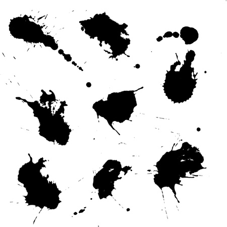 Set of black ink blots isolated on white