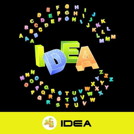 IDEA. Vector 3d illustration with colored alphabet.