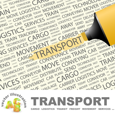Foto de TRANSPORT. Highlighter over background with different association terms. Vector illustration. - Imagen libre de derechos