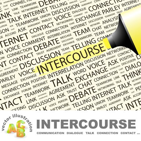 INTERCOURSE. Highlighter over background with different association terms. Vector illustration.
