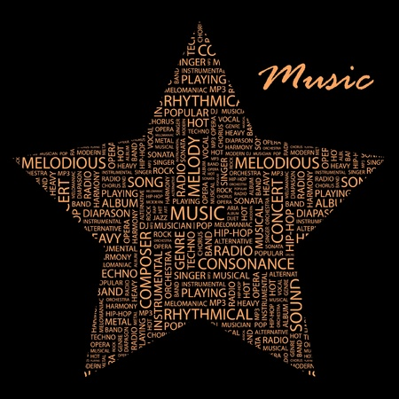 MUSIC. Word collage on black background. Vector illustration. Illustration with different association terms.