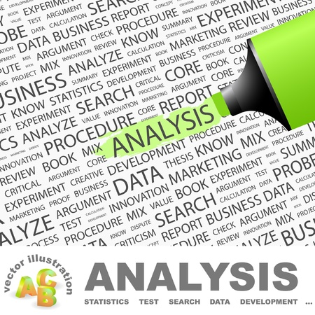 ANALYSIS. Highlighter over background with different association terms. Vector illustration.