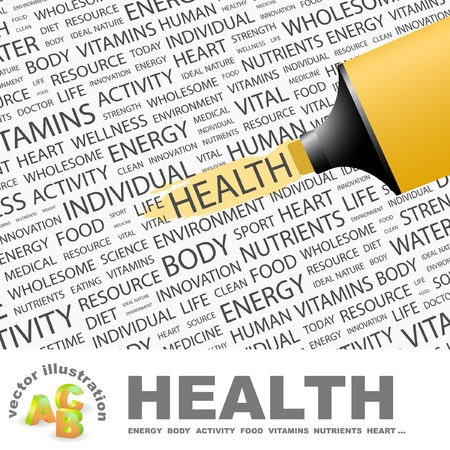 HEALTH. Highlighter over background with different association terms. Vector illustration.