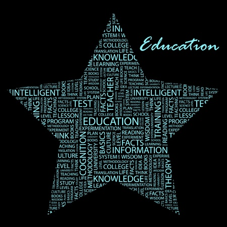 EDUCATION. Word collage on black background.