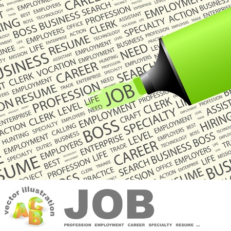 JOB. Highlighter over background with different association terms. Vector illustration.