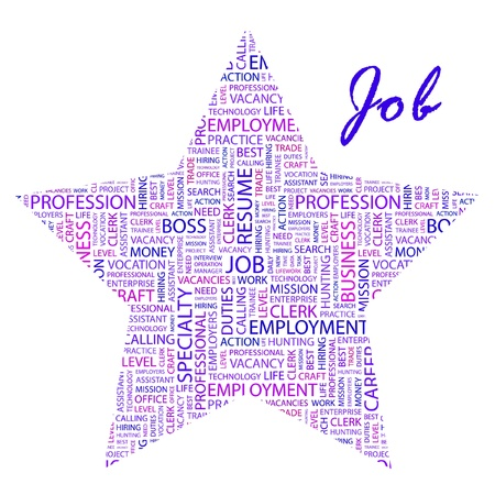 JOB. Word collage on white background. Vector illustration. Illustration with different association terms.