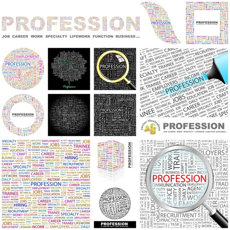 PROFESSION. Word collage. GREAT COLLECTION.