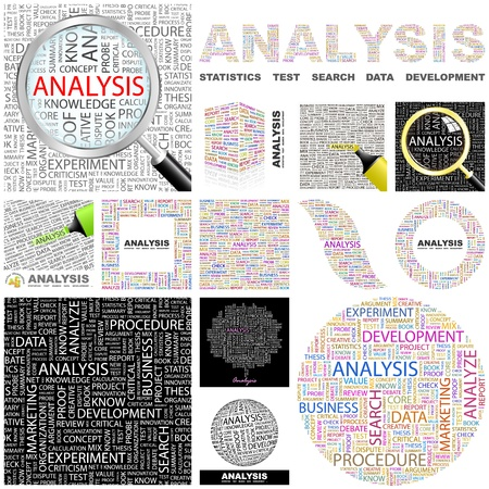 ANALYSIS. Word collage. GREAT COLLECTION.